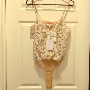 WAYF ivory lace top (bodysuit)